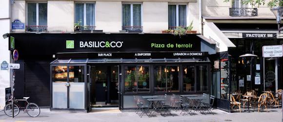 Façade du restaurant Basilic & Co Paris (Voltaire)