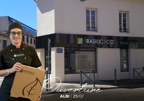 Façade du restaurant Basilic & Co Albi et portrait de Laurence Plas