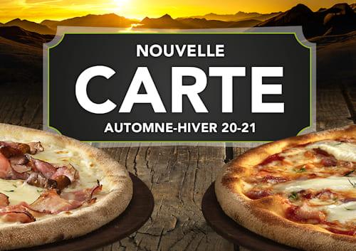 Image de présentation de la nouvelle carte Automne-Hiver Basilic & Co avec deux pizzas