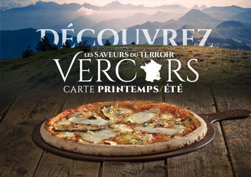 Pizza Basilic & Co sur fond de paysage du Vercors