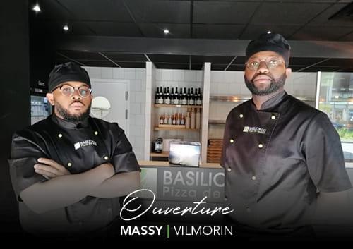 Les deux franchisés devant la façade de Basilic & Co, nouveau restaurant à Massy (Vilmorin)