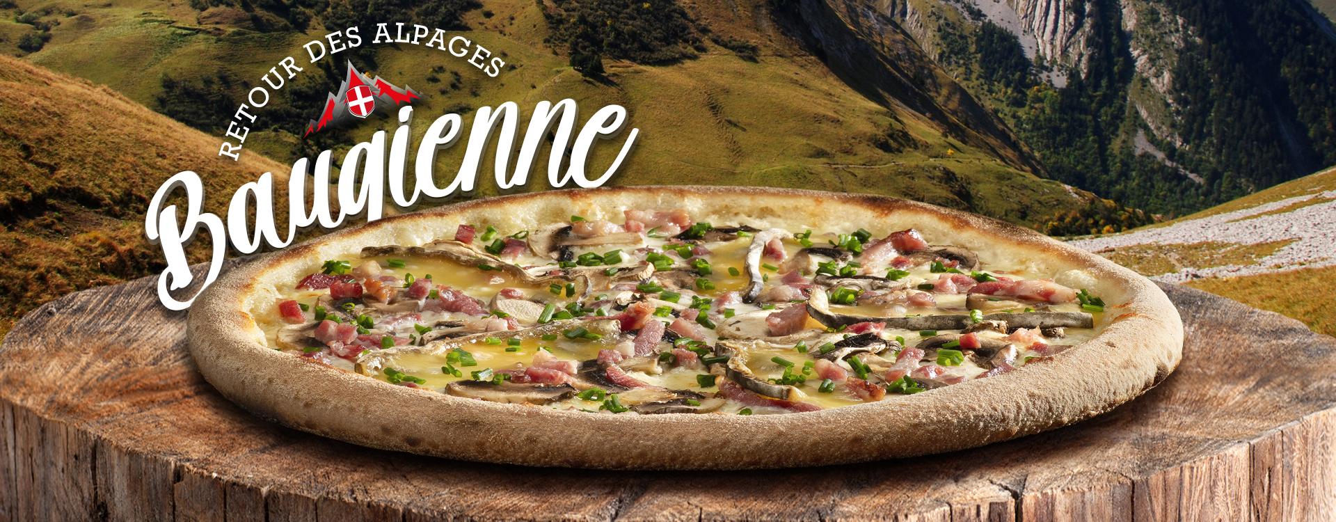 Pizza à l'honneur en septembre : la Baugienne - septembre 2021 - Restaurants Basilic & Co sur un fond de paysage des Bauges