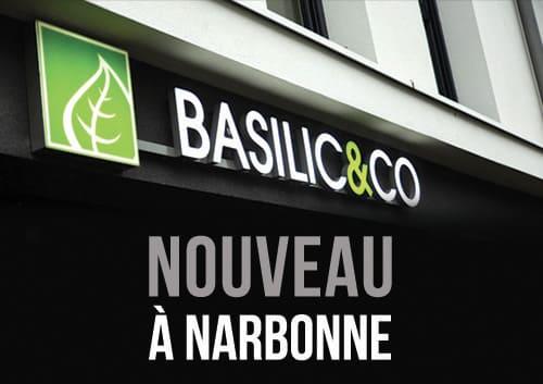 """Photo de l'enseigne Basilic & Co avec l'inscription """"nouveau à Narbonne"""""""