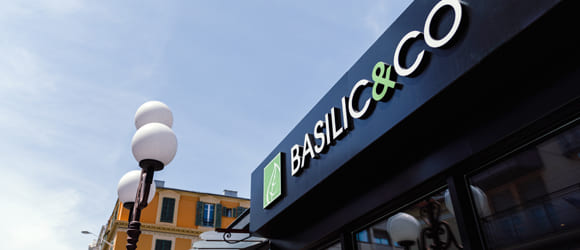 Façade extérieure du restaurant Basilic & Co de Nice Pastorelli